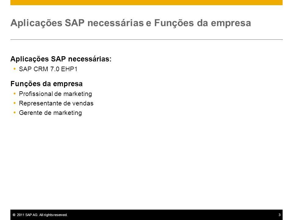 ©2011 SAP AG.All rights reserved.4 Diagrama do fluxo do processo Gerenciamento de leads Represent.