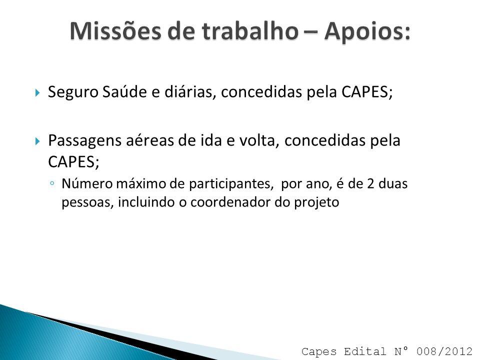 Seguro Saúde e diárias, concedidas pela CAPES; Passagens aéreas de ida e volta, concedidas pela CAPES; Número máximo de participantes, por ano, é de 2 duas pessoas, incluindo o coordenador do projeto Capes Edital N° 008/2012