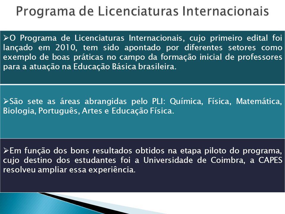 O Programa de Licenciaturas Internacionais, cujo primeiro edital foi lançado em 2010, tem sido apontado por diferentes setores como exemplo de boas práticas no campo da formação inicial de professores para a atuação na Educação Básica brasileira.