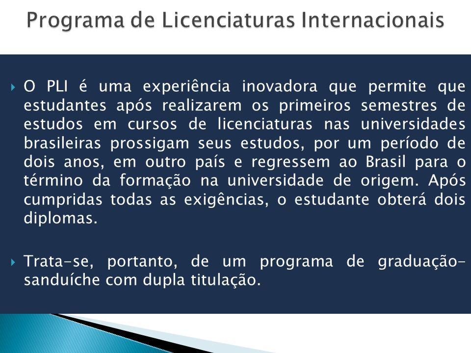 O PLI é uma experiência inovadora que permite que estudantes após realizarem os primeiros semestres de estudos em cursos de licenciaturas nas universidades brasileiras prossigam seus estudos, por um período de dois anos, em outro país e regressem ao Brasil para o término da formação na universidade de origem.
