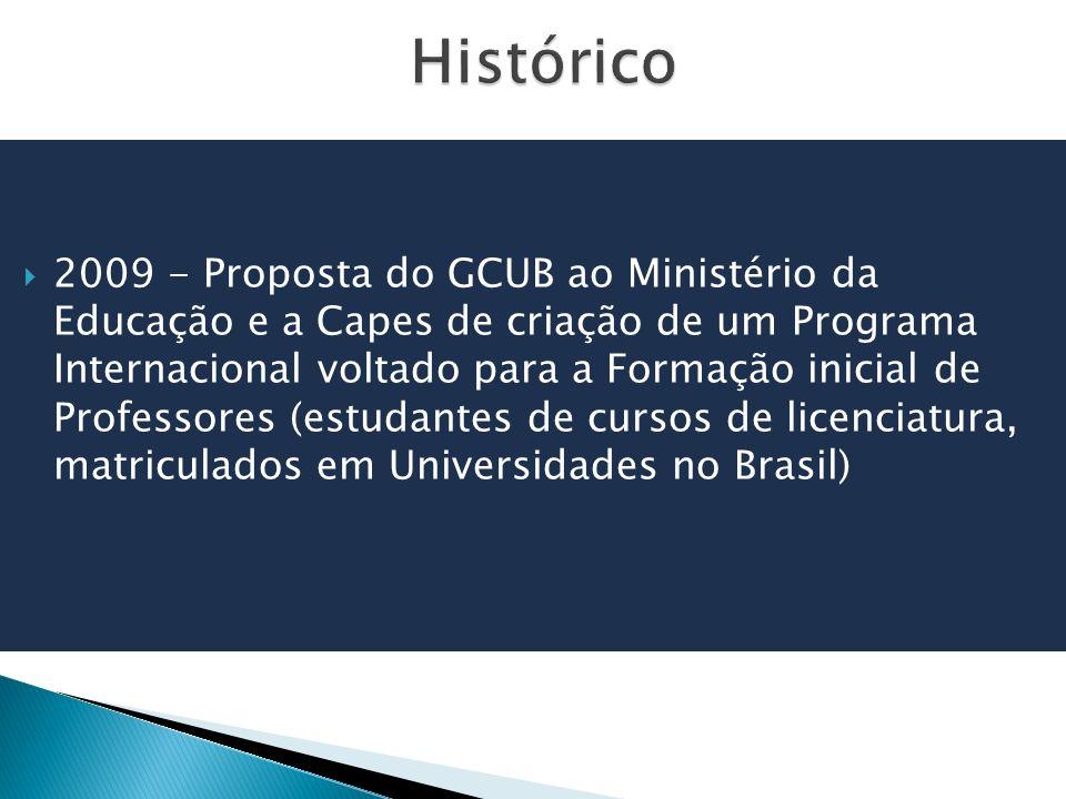 2009 - Proposta do GCUB ao Ministério da Educação e a Capes de criação de um Programa Internacional voltado para a Formação inicial de Professores (estudantes de cursos de licenciatura, matriculados em Universidades no Brasil)