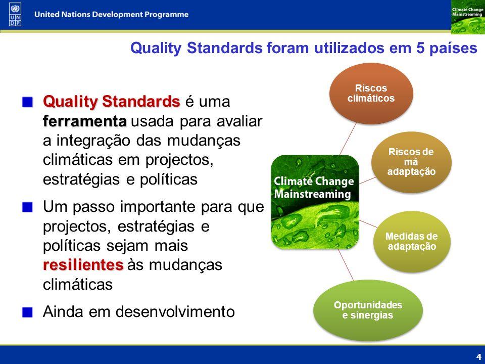 4 Quality Standards foram utilizados em 5 países Quality Standards ferramenta Quality Standards é uma ferramenta usada para avaliar a integração das m