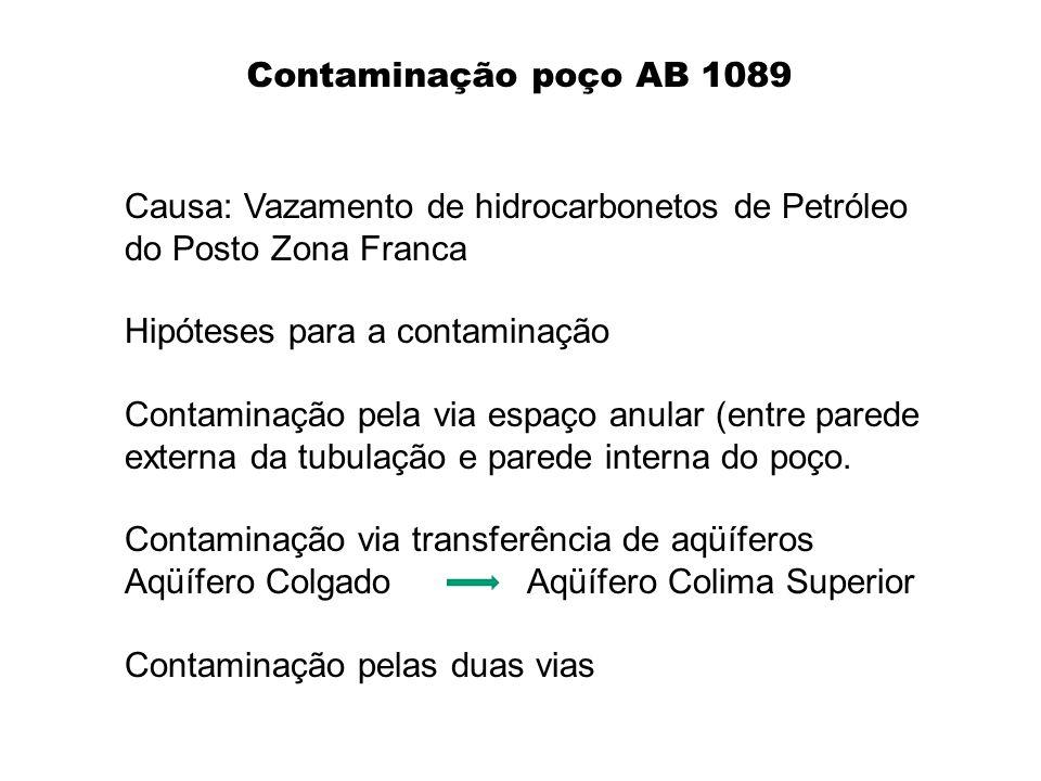 Contaminação poço AB 1089 Causa: Vazamento de hidrocarbonetos de Petróleo do Posto Zona Franca Hipóteses para a contaminação Contaminação pela via esp
