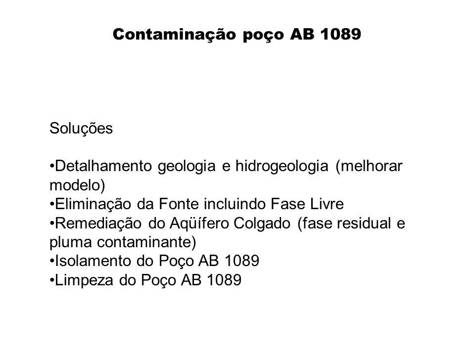 Soluções Detalhamento geologia e hidrogeologia (melhorar modelo) Eliminação da Fonte incluindo Fase Livre Remediação do Aqüífero Colgado (fase residua