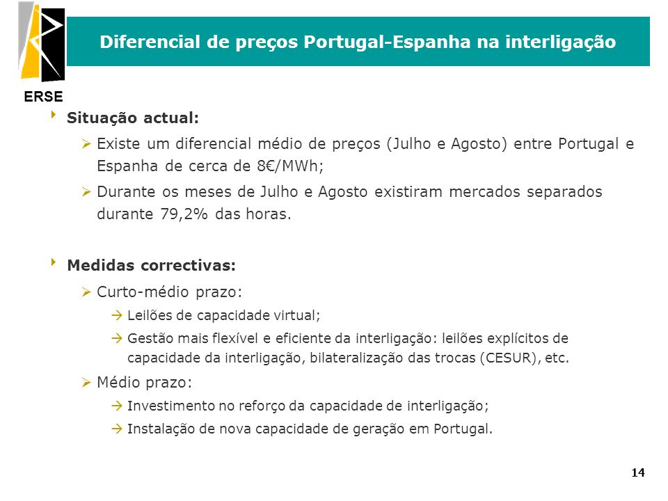 ERSE 14 Diferencial de preços Portugal-Espanha na interligação Situação actual: ØExiste um diferencial médio de preços (Julho e Agosto) entre Portugal