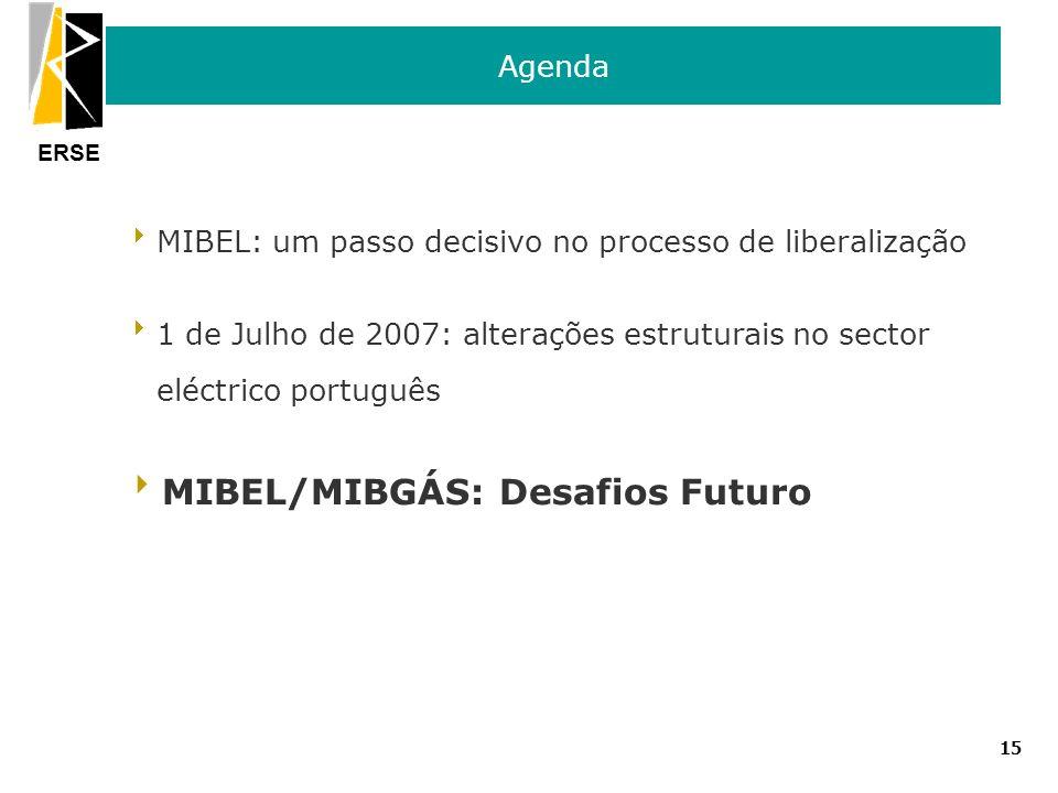 ERSE 15 Agenda MIBEL: um passo decisivo no processo de liberalização 1 de Julho de 2007: alterações estruturais no sector eléctrico português MIBEL/MI