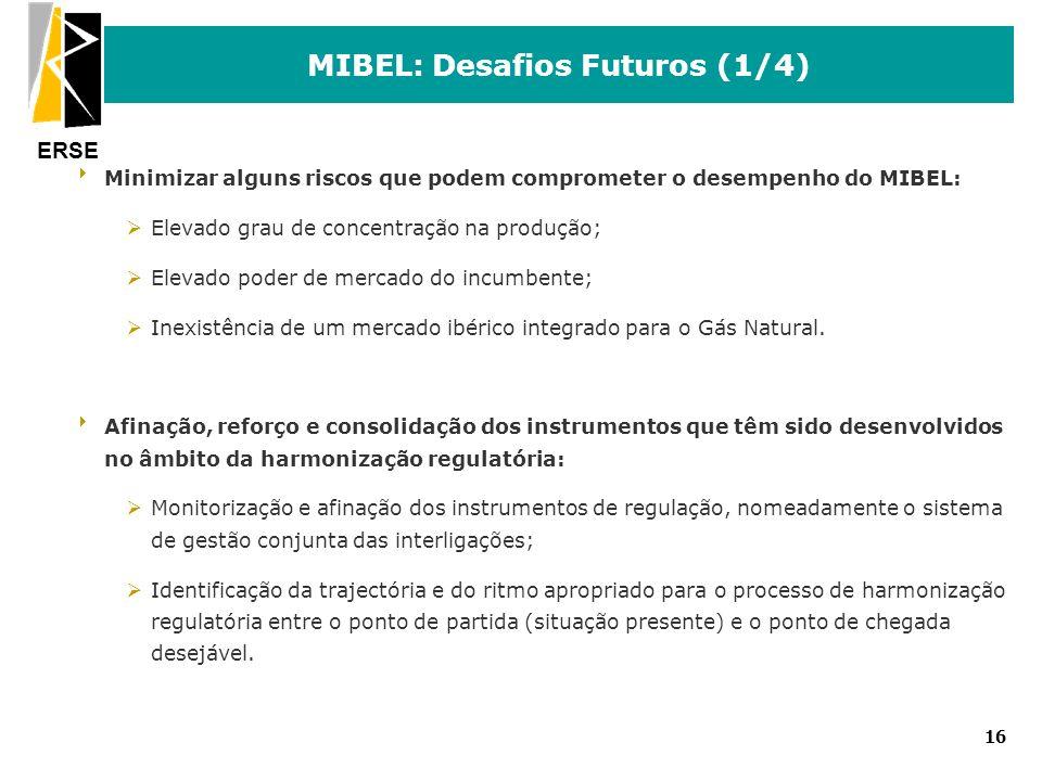 ERSE 16 MIBEL: Desafios Futuros (1/4) Minimizar alguns riscos que podem comprometer o desempenho do MIBEL: ØElevado grau de concentração na produção;