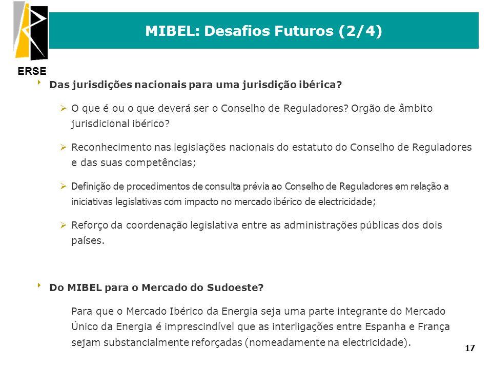 ERSE 17 MIBEL: Desafios Futuros (2/4) Das jurisdições nacionais para uma jurisdição ibérica? ØO que é ou o que deverá ser o Conselho de Reguladores? O