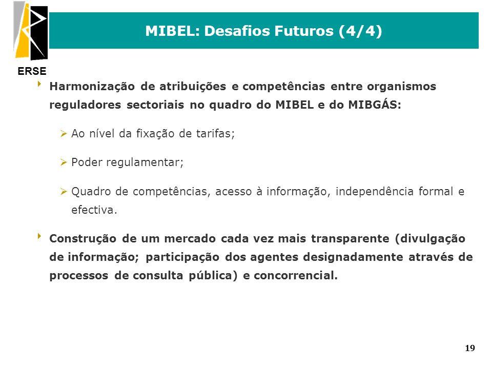ERSE 19 MIBEL: Desafios Futuros (4/4) Harmonização de atribuições e competências entre organismos reguladores sectoriais no quadro do MIBEL e do MIBGÁ