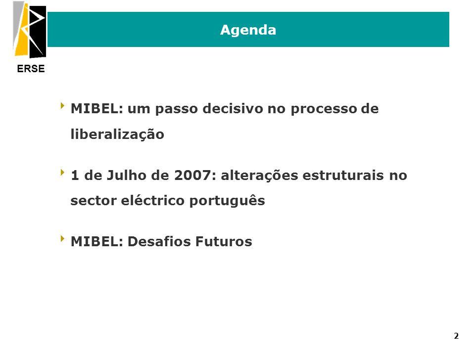ERSE 3 Agenda MIBEL: um passo decisivo no processo de liberalização 1 de Julho de 2007: alterações estruturais no sector eléctrico português 1 de Julho de 2007: alterações estruturais no sector eléctrico português MIBEL: Desafios Futuros MIBEL: Desafios Futuros