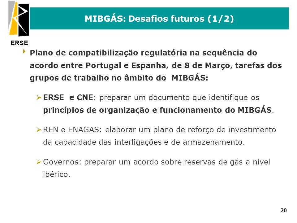 ERSE 20 MIBGÁS: Desafios futuros (1/2) Plano de compatibilização regulatória na sequência do acordo entre Portugal e Espanha, de 8 de Março, tarefas d