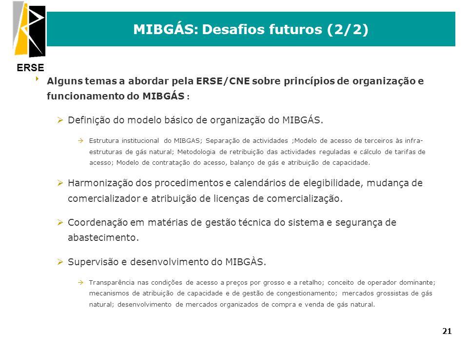 ERSE 21 MIBGÁS: Desafios futuros (2/2) Alguns temas a abordar pela ERSE/CNE sobre princípios de organização e funcionamento do MIBGÁS : ØDefinição do