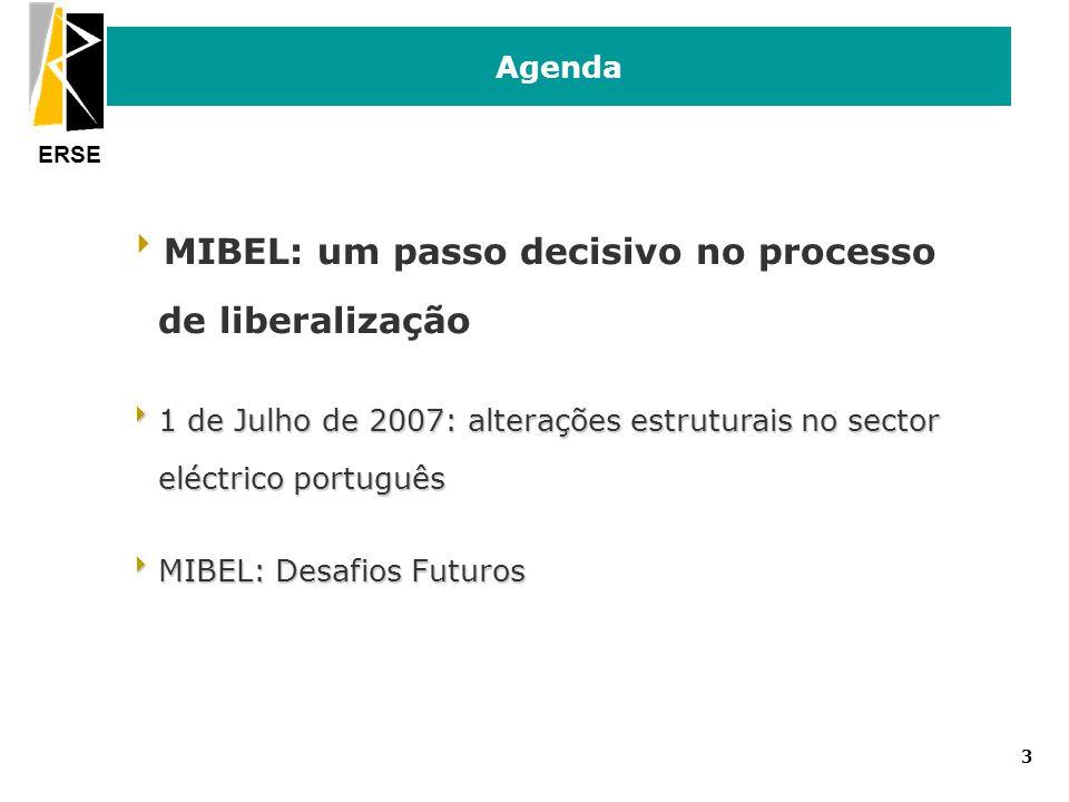 ERSE 3 Agenda MIBEL: um passo decisivo no processo de liberalização 1 de Julho de 2007: alterações estruturais no sector eléctrico português 1 de Julh