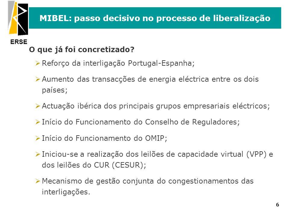 ERSE 6 MIBEL: passo decisivo no processo de liberalização O que já foi concretizado? ØReforço da interligação Portugal-Espanha; ØAumento das transacçõ