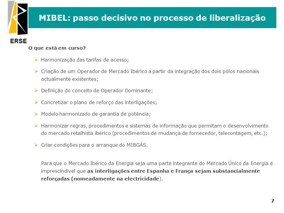 ERSE 7 MIBEL: passo decisivo no processo de liberalização O que está em curso? ØHarmonização das tarifas de acesso; ØCriação de um Operador de Mercado