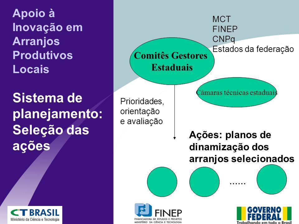 Apoio à Inovação em Arranjos Produtivos Locais Sistema de planejamento: Seleção das ações Comitês Gestores Estaduais MCT FINEP CNPq Estados da federaç