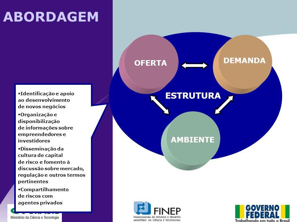 ESTRUTURA DEMANDA OFERTA AMBIENTE Identificação e apoio ao desenvolvimento de novos negócios Organização e disponibilização de informações sobre empre