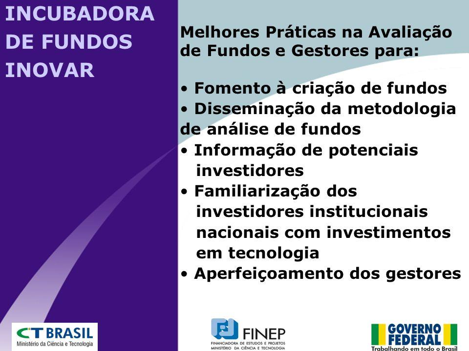 Melhores Práticas na Avaliação de Fundos e Gestores para: Fomento à criação de fundos Disseminação da metodologia de análise de fundos Informação de p