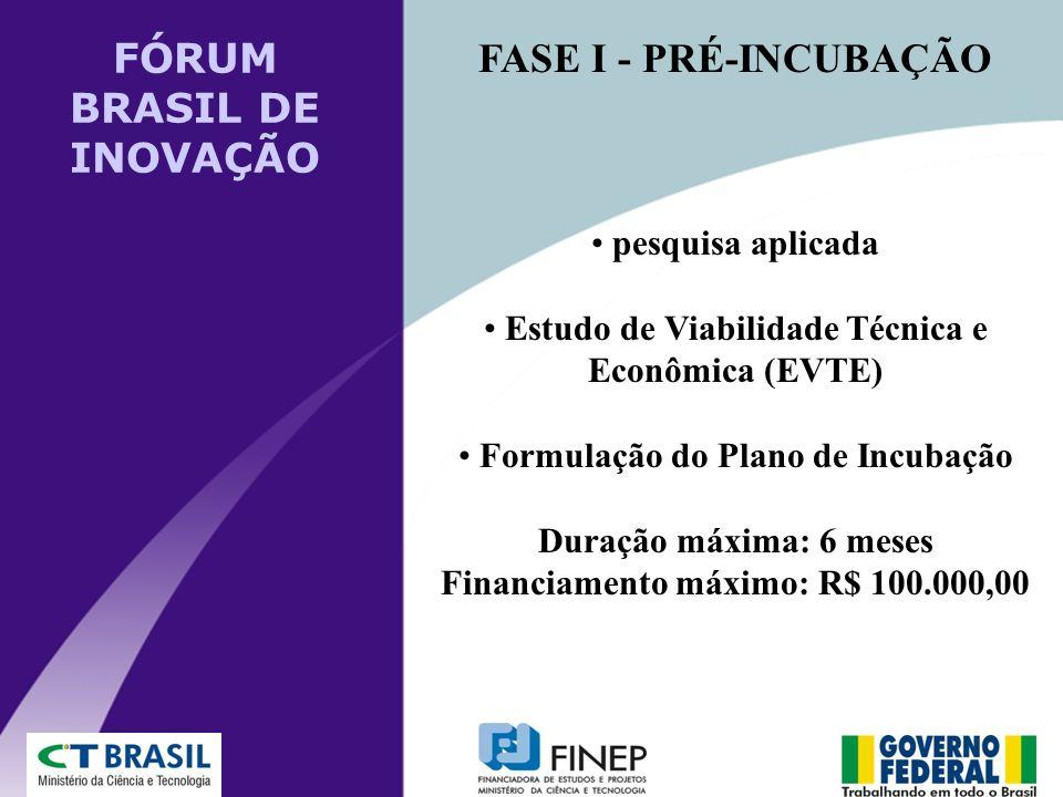 FASE I - PRÉ-INCUBAÇÃO pesquisa aplicada Estudo de Viabilidade Técnica e Econômica (EVTE) Formulação do Plano de Incubação Duração máxima: 6 meses Fin
