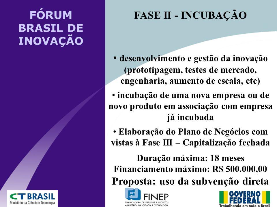 FASE II - INCUBAÇÃO desenvolvimento e gestão da inovação (prototipagem, testes de mercado, engenharia, aumento de escala, etc) incubação de uma nova e