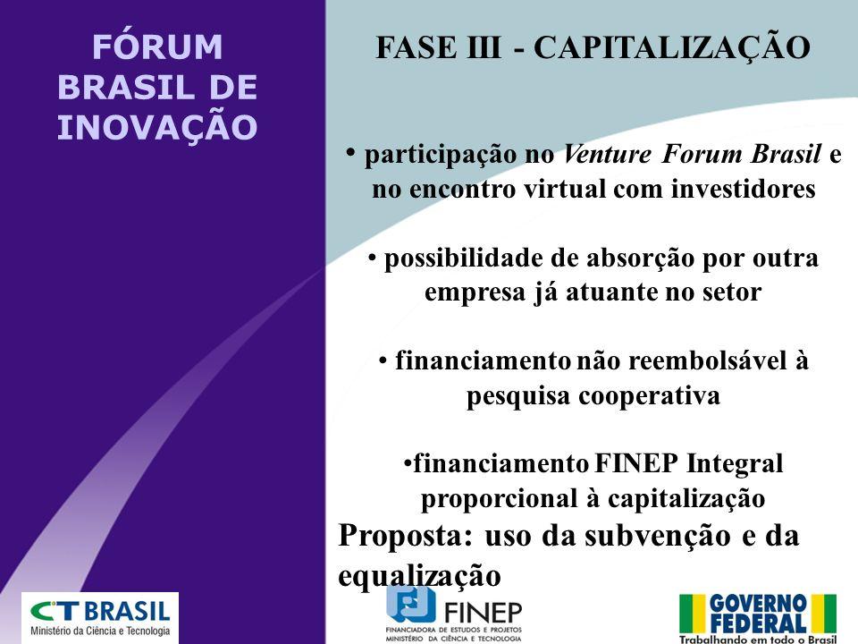 FASE III - CAPITALIZAÇÃO participação no Venture Forum Brasil e no encontro virtual com investidores possibilidade de absorção por outra empresa já at