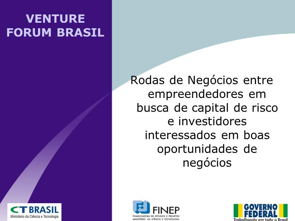 Rodas de Negócios entre empreendedores em busca de capital de risco e investidores interessados em boas oportunidades de negócios VENTURE FORUM BRASIL