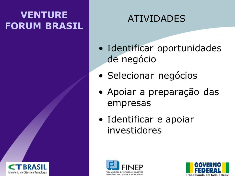 Identificar oportunidades de negócio Selecionar negócios Apoiar a preparação das empresas Identificar e apoiar investidores ATIVIDADES VENTURE FORUM B