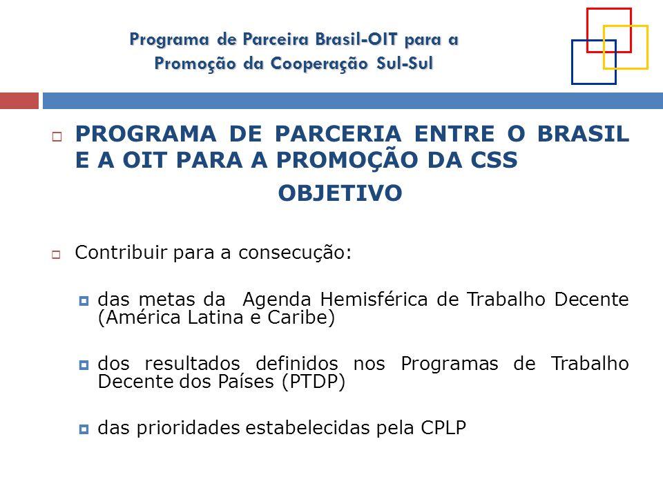 Programa de Parceira Brasil-OIT para a Promoção da Cooperação Sul-Sul PROGRAMA DE PARCERIA ENTRE O BRASIL E A OIT PARA A PROMOÇÃO DA CSS OBJETIVO Cont