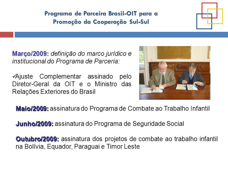 Programa de Parceira Brasil-OIT para a Promoção da Cooperação Sul-Sul Março/2009: Março/2009: definição do marco jurídico e institucional do Programa