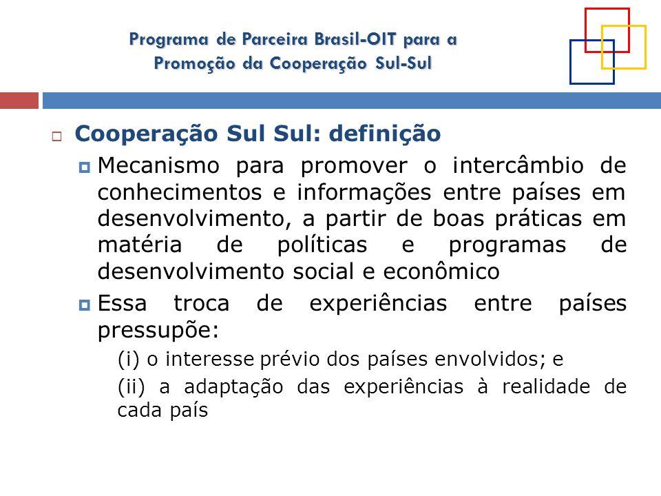 Programa de Parceira Brasil-OIT para a Promoção da Cooperação Sul-Sul Cooperação Sul Sul: princípios Esforço comum dos povos e países do Sul Expressão de solidariedade Sul-Sul e uma estratégia para independência econômica e auto-confiança dos países do Sul baseado em seus objetivos comuns e solidariedade Deve ser orientada pela demanda (prioridades definidas pelos países receptores da cooperação) Não substitui a cooperação Norte-Sul O fortalecimento da CSS não deve ser considerado uma alternativa à diminuição do interesse dos países desenvolvidos em assistir os países em desenvolvimento