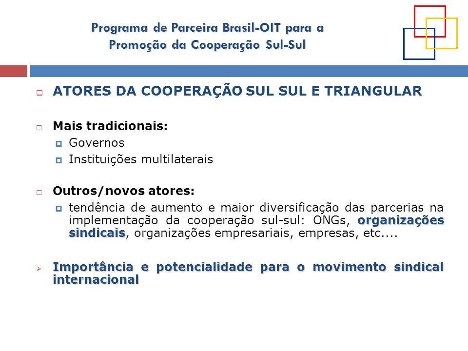 Programa de Parceira Brasil-OIT para a Promoção da Cooperação Sul-Sul DESAFIOS Fortalecer a Agência Brasileira de Cooperação Implementar/aperfeiçoar metodologias capazes de aproveitar todo o potencial representado pela CSST e mecanismos e práticas de coordenação entre os diferentes atores envolvidos.