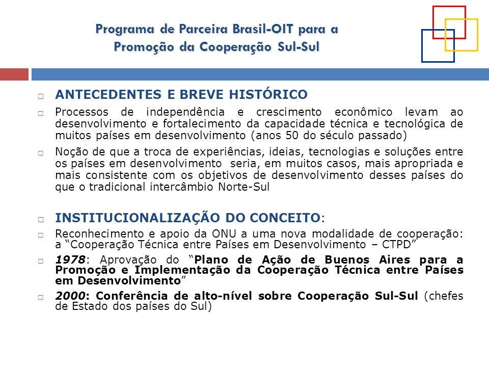 Programa de Parceira Brasil-OIT para a Promoção da Cooperação Sul-Sul COMPROMISSOS INTERNACIONAIS 2003: Alteração da nomenclatura para cooperação sul-sul, mais abrangente que a CTPD 2003: Conferência de Alto-Nível sobre Cooperação Sul-Sul (Marrakesh): Declaração de Marrakesh reconhece a cooperação sul-sul como um complemento imperativo à cooperação Norte-Sul para contribuir no alcance dos objetivos de desenvolvimento acordados internacionalmente, incluindo os ODMs Realização de uma série de conferências e reuniões para discutir o arcabouço conceitual e os princípios da cooperação sul-sul: 2009: Conferência da ONU sobre CSS (Nairobi)e a aprovação posterior do documento final da Assembléia Geral da ONU em 2010: grande impulso ao conceito