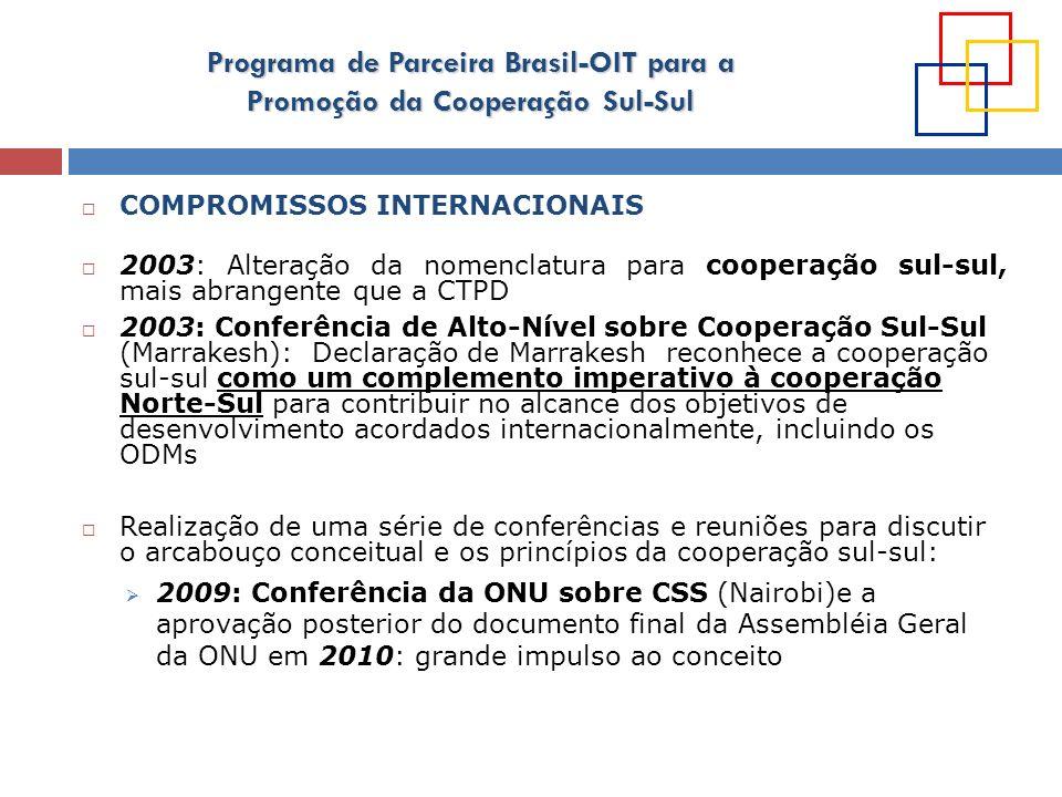 Programa de Parceira Brasil-OIT para a Promoção da Cooperação Sul-Sul COOPERAÇÃO SUL SUL, TRABALHO DECENTE, E O PAPEL DA OIT Cooperação entre a OIT e o governo brasileiro é experiência pioneira: começa em 2007 Passa a ser reafirmada em diversos foros internacionais; ex: 2011: assinatura de Declaração de Intenções entre os países IBSA (Índia, Brasil, A.