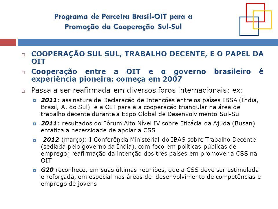 Programa de Parceira Brasil-OIT para a Promoção da Cooperação Sul-Sul Para a OIT a CSS é uma modalidade de cooperação que permite aproveitar o talento, criatividade e conhecimento dos países do Sul para o benefício de seus constituintes tripartites em outros países do Sul PAPEL DA OIT: catalisador do fomento de uma parceria entre iguais: ferramentas e estratégias testadasassessoria e especialização técnica Colocar à disposição ferramentas e estratégias testadas, assessoria e especialização técnica para facilitar a CSS Facilitar parcerias entre governos, organizações de empregadores e trabalhadores do sul Facilitar parcerias entre governos, organizações de empregadores e trabalhadores do sul : promoção do diálogo social e aproveitamento de longa experiência na promoção de acordos triangulares para enfrentar os desafios do desenvolvimento A CSS TAMBÉM É UMA OPORTUNIDADE PARA A OIT A OIT tem muito o que aprender com a CSS (flexibilidade, sentido de inovação, sistematização e disseminação de boas práticas)