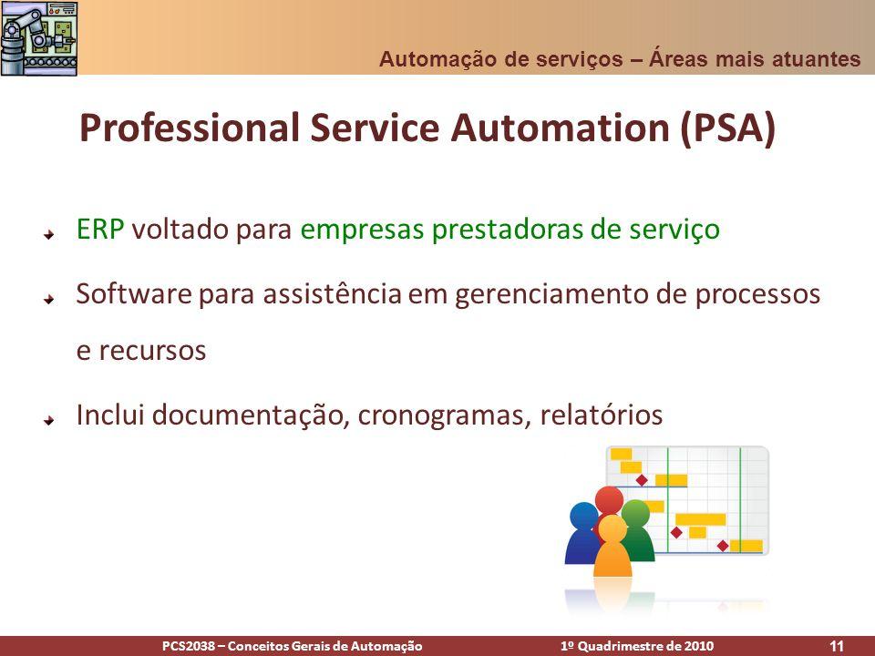 PCS2038 – Conceitos Gerais de Automação 1º Quadrimestre de 2010 12 Focado em bens intangíveis – sua equipe, consultores e pesquisadores Professional Service Automation (PSA) Automação de serviços – Áreas mais atuantes