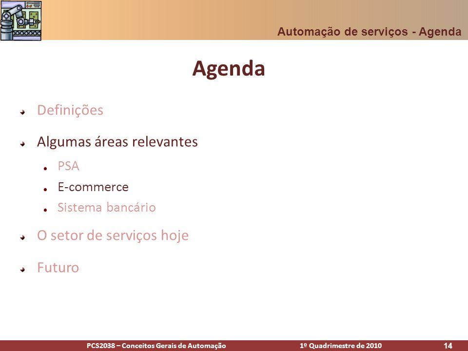 PCS2038 – Conceitos Gerais de Automação 1º Quadrimestre de 2010 14 Agenda Definições Algumas áreas relevantes PSA E-commerce Sistema bancário O setor