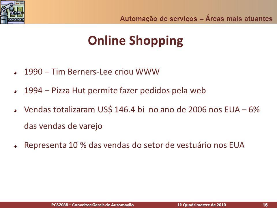 PCS2038 – Conceitos Gerais de Automação 1º Quadrimestre de 2010 16 Online Shopping 1990 – Tim Berners-Lee criou WWW 1994 – Pizza Hut permite fazer ped