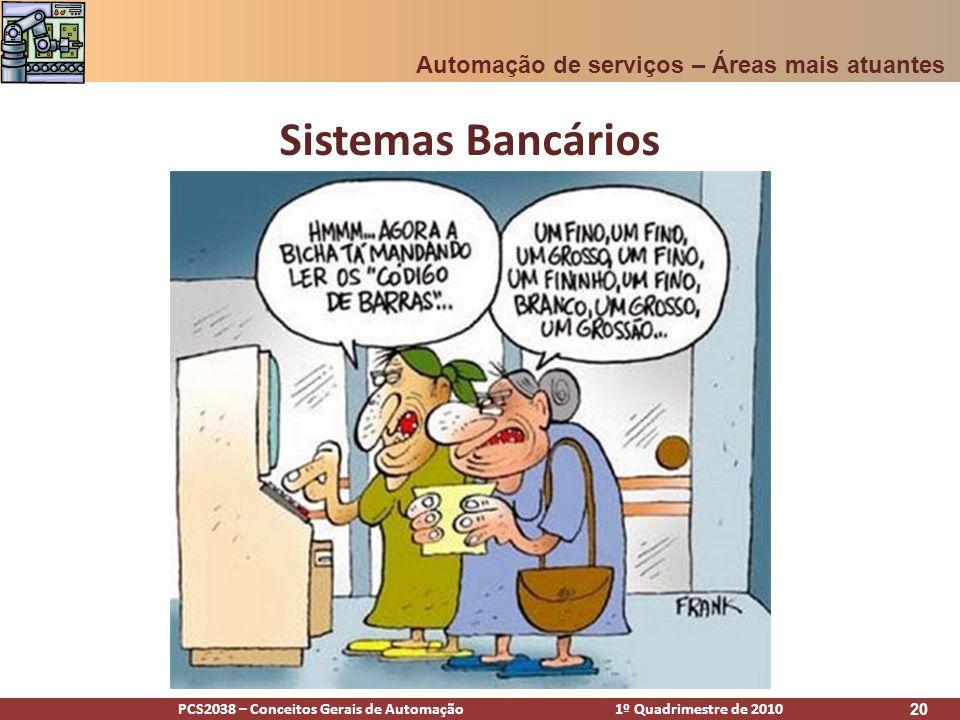 PCS2038 – Conceitos Gerais de Automação 1º Quadrimestre de 2010 20 Sistemas Bancários Automação de serviços – Áreas mais atuantes