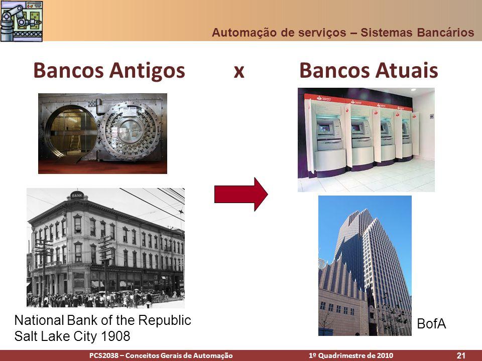 PCS2038 – Conceitos Gerais de Automação 1º Quadrimestre de 2010 21 Bancos Antigos x Bancos Atuais Automação de serviços – Sistemas Bancários National