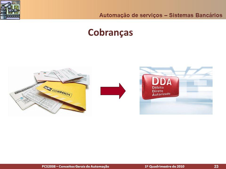 PCS2038 – Conceitos Gerais de Automação 1º Quadrimestre de 2010 23 Cobranças Automação de serviços – Sistemas Bancários
