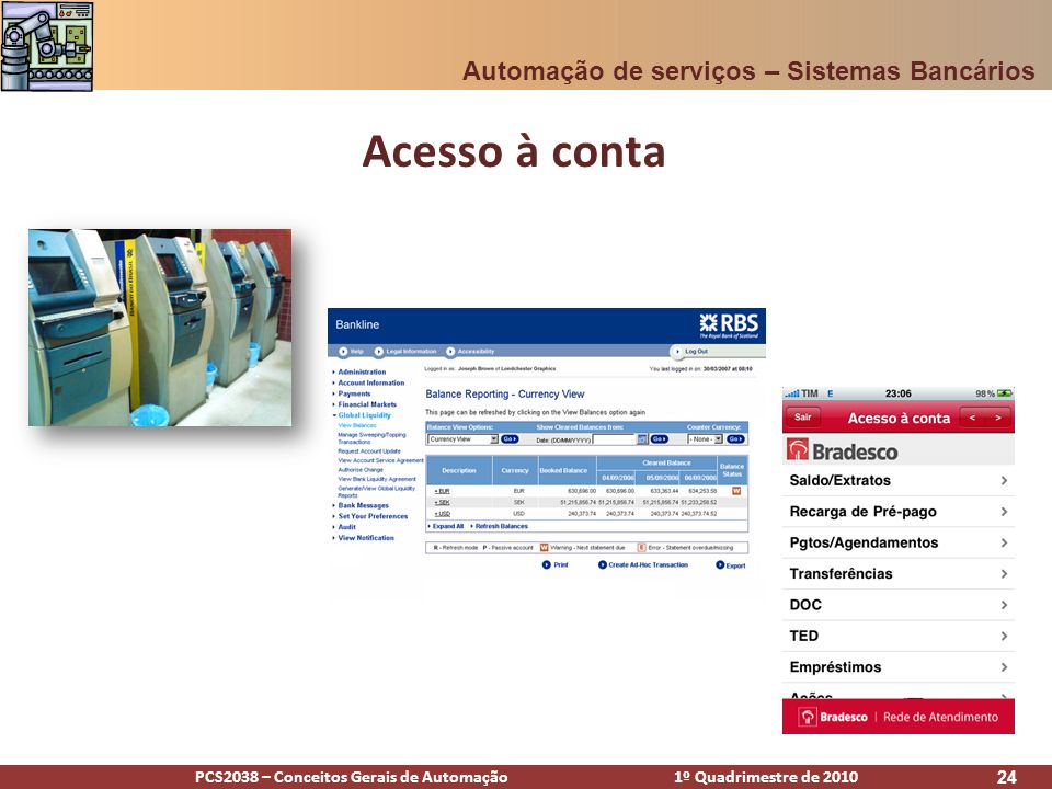 PCS2038 – Conceitos Gerais de Automação 1º Quadrimestre de 2010 24 Acesso à conta Automação de serviços – Sistemas Bancários