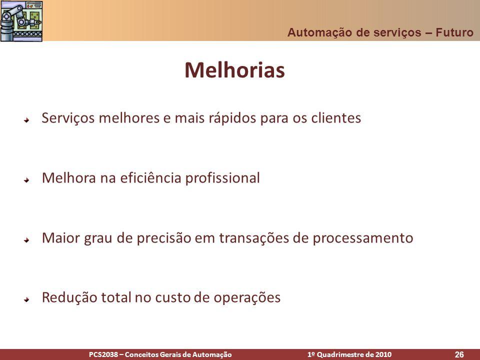PCS2038 – Conceitos Gerais de Automação 1º Quadrimestre de 2010 26 Melhorias Automação de serviços – Futuro Serviços melhores e mais rápidos para os c