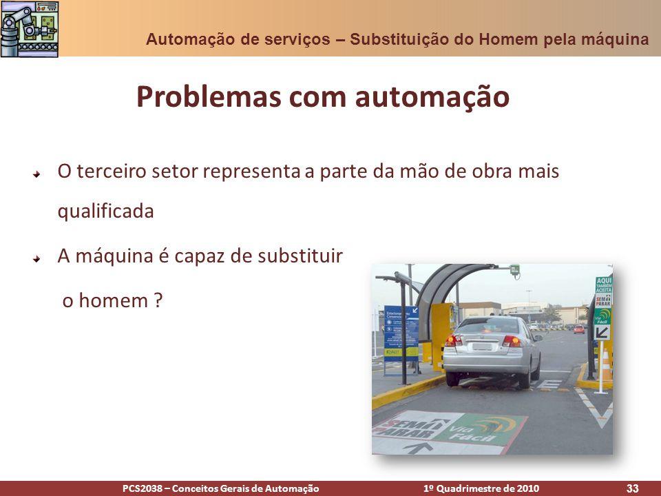 PCS2038 – Conceitos Gerais de Automação 1º Quadrimestre de 2010 33 O terceiro setor representa a parte da mão de obra mais qualificada A máquina é cap