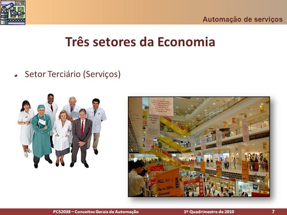 PCS2038 – Conceitos Gerais de Automação 1º Quadrimestre de 2010 7 Três setores da Economia Setor Terciário (Serviços) Automação de serviços