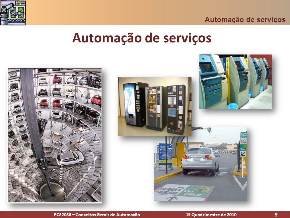 PCS2038 – Conceitos Gerais de Automação 1º Quadrimestre de 2010 10 Agenda Definições Algumas áreas relevantes PSA E-commerce Sistema bancário O setor de serviços hoje Futuro Automação de serviços - Agenda