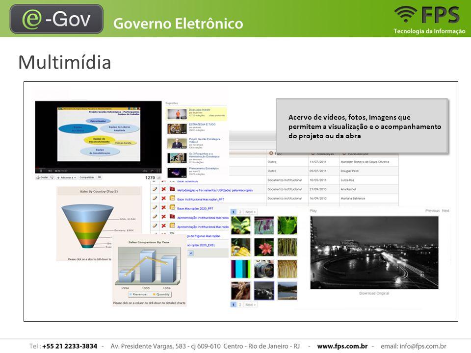 Multimídia Acervo de vídeos, fotos, imagens que permitem a visualização e o acompanhamento do projeto ou da obra