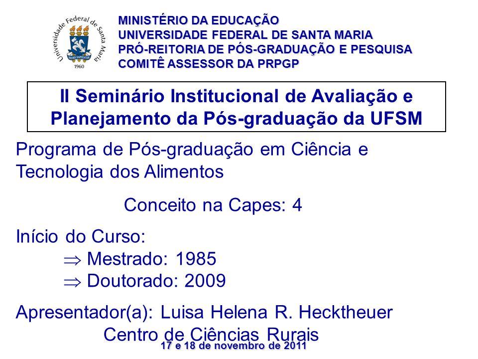 17 e 18 de novembro de 2011 II Seminário Institucional de Avaliação e Planejamento da Pós-graduação da UFSM Programa de Pós-graduação em Ciência e Tecnologia dos Alimentos Conceito na Capes: 4 Início do Curso: Mestrado: 1985 Doutorado: 2009 Apresentador(a): Luisa Helena R.