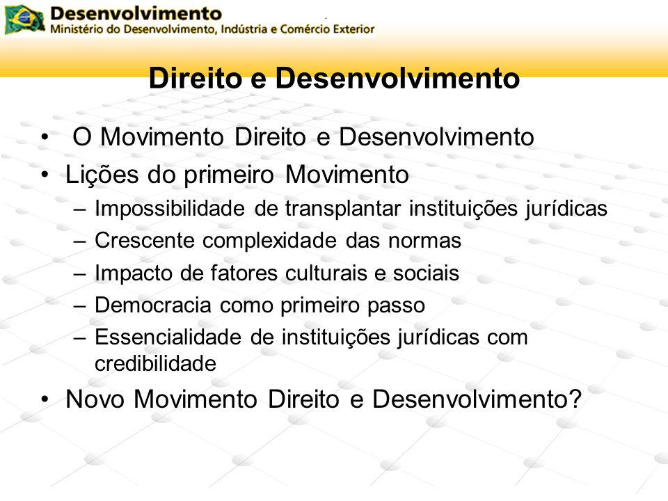 Direito e Desenvolvimento O Movimento Direito e Desenvolvimento Lições do primeiro Movimento –Impossibilidade de transplantar instituições jurídicas –