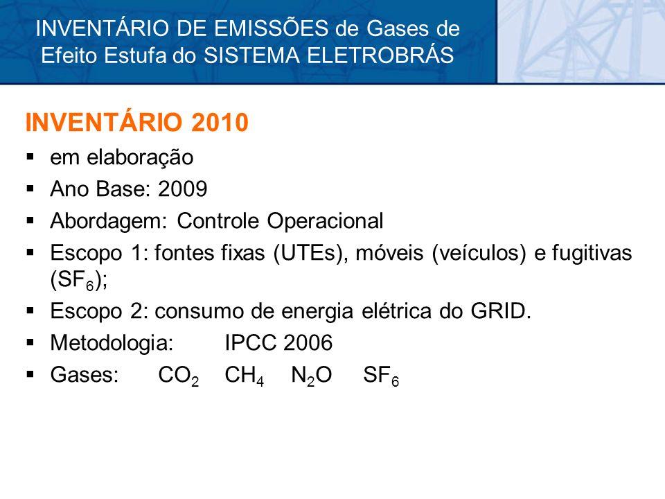 INVENTÁRIO 2010 em elaboração Ano Base: 2009 Abordagem: Controle Operacional Escopo 1: fontes fixas (UTEs), móveis (veículos) e fugitivas (SF 6 ); Esc