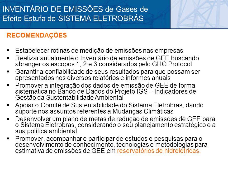 RECOMENDAÇÕES Estabelecer rotinas de medição de emissões nas empresas Realizar anualmente o Inventário de emissões de GEE buscando abranger os escopos